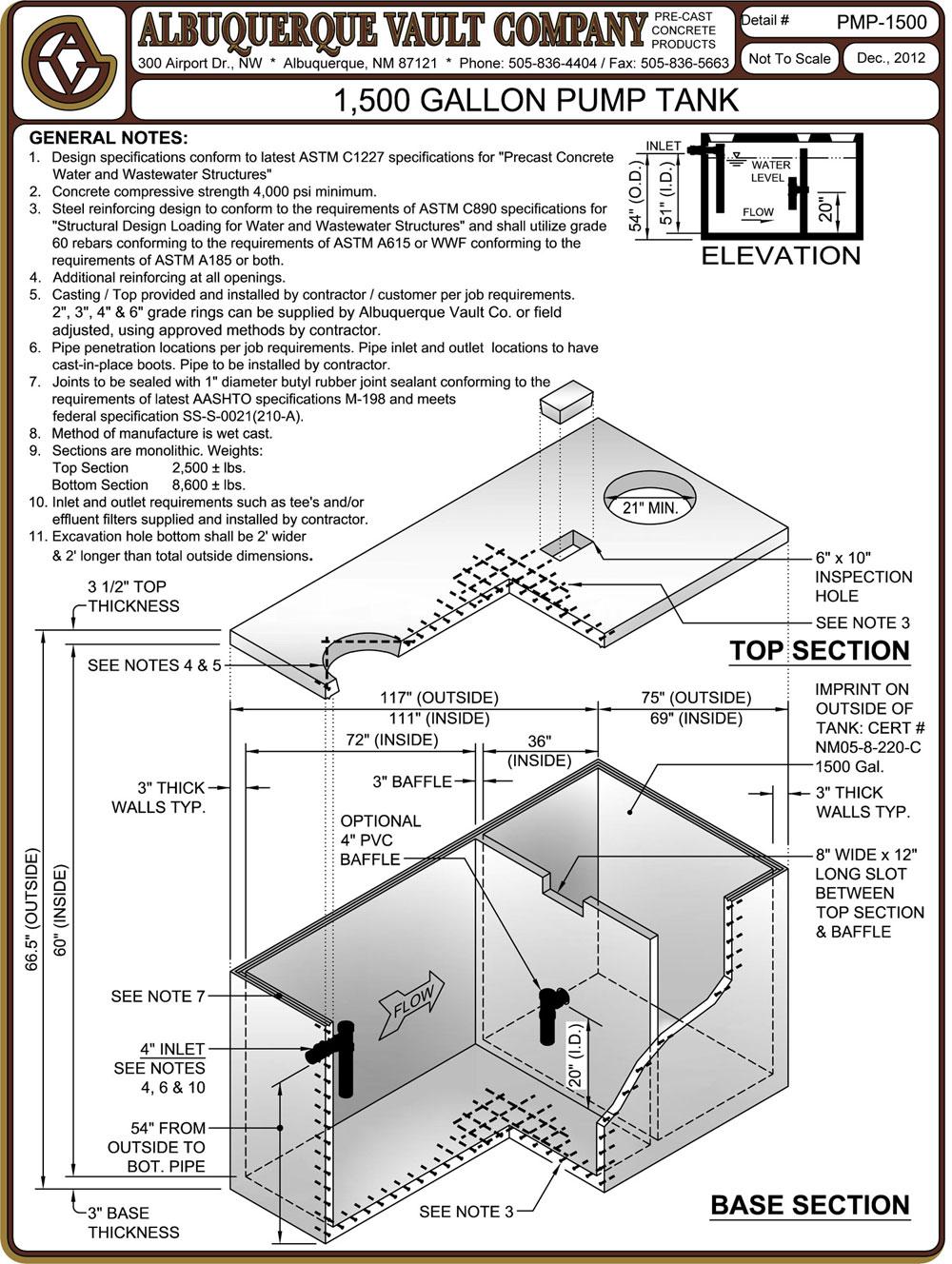 Pump Tanks – Precast Concrete Supplier Albuquerque NM Manholes Storm ...