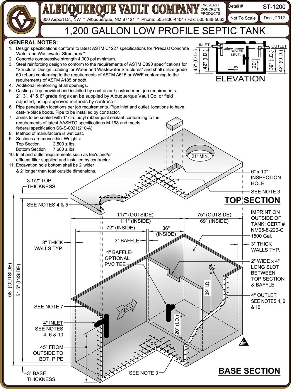 Septic Tanks Precast Concrete Supplier Albuquerque Nm